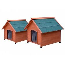 FoxHunter Dog Kennel L/M Wooden Pet House Apex Roof Outdoor Shelter Easy Clean