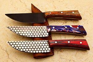 Custom handmade steel  etching damascus pattern 3 small skinning knife # W-830