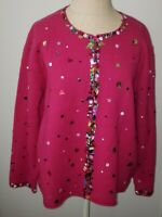 Susan Bristol Hot Pink w/ Sequin Trim Christmas Sweater cardigan Sz XL Wool