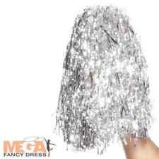Silver Pom Poms Metallic Fancy Dress School Cheerleader Costume Accessory Prop