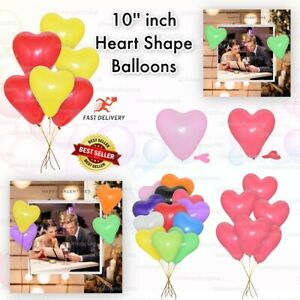 """mix10"""" Heart Shape Balloons wedding Valentines Love Party baloons helium/air uk"""