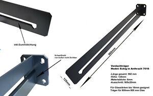 Vordach Träger für 80cm - 90cm tiefes VSG Glas bis 18mm B-Ware inkl Kantenschutz