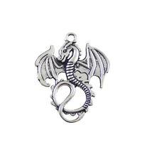 31340 Antique Style Silver Tone Alloy Ancient Dragon Pendant Finding 24pcs