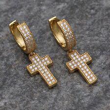 Mens Iced Diamond Cross Drop Dangle Style Sterling Silver Hoop Clip on Earrings