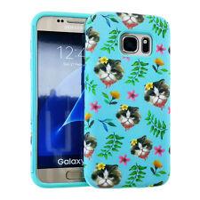 For Samsung Galaxy S7 - HARD&SOFT RUBBER HYBRID ARMOR SKIN CASE BLUE FLOWER CAT