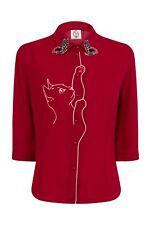 Dancing Days by BANNED Snow Bird Cat Butterfly Chiffon Snowbird Shirt Blouse L Bordeaux