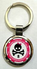 Alcoholics Anonymous Skull and Bow 8 Year Sobriety Key Chain Free Shipping