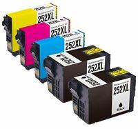 5Pk T252XL 252 XL Ink Cartridge For Epson WorkForce WF-3640 WF-7110 WF-7610