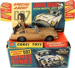 .RARE CORGI TOYS 261 JAMES BOND 007 ASTON MARTIN DIECAST VEHICLE + BOX.