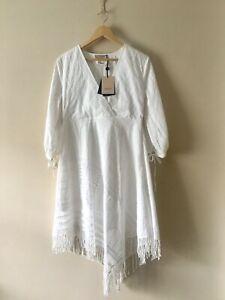 Italian Designer Twinset White Cotton Embroidered Lined Boho Dress Size 44 UK 12