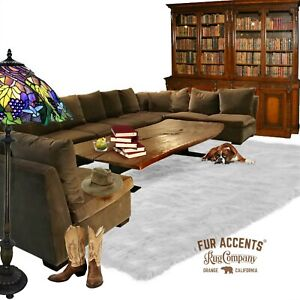 Large White Shag Faux Fur Area Rug Rectangle Faux Sheepskin Carpet, Bonded Suede