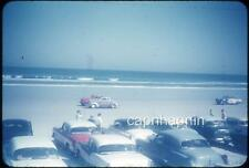 Early Nascar Stock Cars Racing Daytona Beach FL Spectators Vtg 1950s Slide Photo