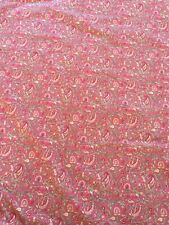 Pottery Barn queen paisley cotton block print flat sheet red orange green white