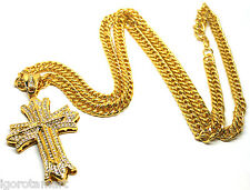 Men's 18K Gold Filled Iced Out Chain Necklace Cross Crucifix Pendant Jewelry
