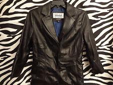 Wilsons Leather Jacket Pelle Studio men's MEDIUM Black BUTTON JACKET /D2