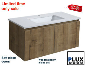PLUX Luxury Bathroom Vanity Wall hung SoftClose  900 Stone top undermount basin