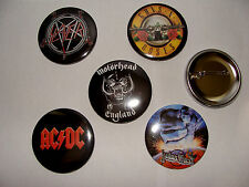 LOT 5 BADGES 56mm HEAVY METAL HARD ROCK MOTORHEAD AC DC JUDAS PRIEST GUNS