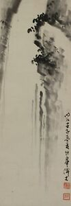 JAPANESE PAINTING RARE HANGING SCROLL FROM JAPAN CASCADE WATERFALL VINTAGE 916m