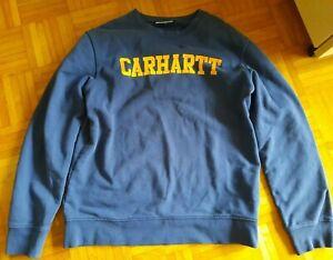 Carhartt Herren Sweatshirt Pullover Blau Gelb Größe M