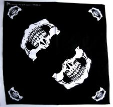 "NEW COOL SKULL MASK ON BLACK 20""BANDANA HEADBAND BIKERS SCARF 100% COTTON #01"