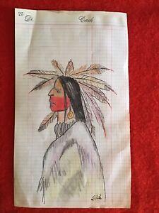Native American Choctaw Indian Ledger Art