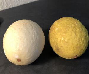 Pair of Vintage Italy Italian stone fruit yellow white Lemons alabaster Italy