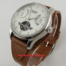 43mm parnis white dial date window power reserve seagull automatic mens watch413