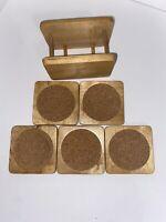 Set Of 5 Wood & Cork Square Household Coaster Set Drink Beverage Kitchenware