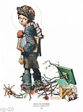 "Norman Rockwell print: ""BACK TO SCHOOL"" 11x15"" after Christmas vacation"