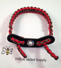 Paracord Bow Wrist Sling Hidden / Lost Camo and Red w/ 7 hole yoke