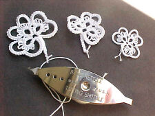 Tatting 3 White Shamrocks Lg, Med & Sm Tatted Crazy Quilts Scrapbooks Cards