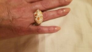 Atelier Swarovski Moselle Ring Cocktail gold plated with citrine crystals size 7