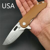 Pocket Folding Knife D2 Steel Blade Flipper Ball Bearing Camping Survival Knives