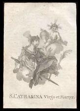 santino incisione 1700 S.CATERINA DI ALESSANDRIA V.M.