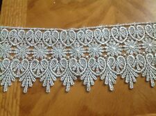 NEW MEDALLION PATTERN SILVER METALLIC VENISE LACE FABRIC TRIM