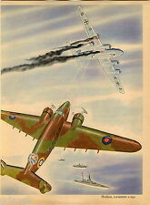 1943 Fighting War Plane Planes Print COLOR Hudson Lockheed A-29 Old Boomerang