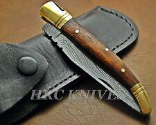 """DH15 ~ 8.5"""" CUSTOM HRC DAMASCUS LAGUIOLE FOLDING POCKET KNIFE - USA"""