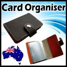 Leather Business Card Holder Organiser Case Soft Wallet for Men Women Grey Color