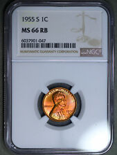 1955-S Lincoln Wheat Cent 1C NGC MS66RB - Colorful Toning