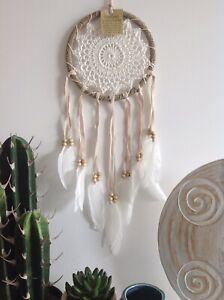 DREAM CATCHER Rattan Circle White Cream Crochet 16.5cm Web Wall Hanging Decor