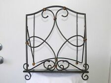 Metal Bronze Finished Scroll Cookbook Book Stand with Weights & Front Guard