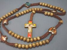 Rosary Necklace Wood Bead MACRAME Photo Crucifix Holy Image LATTE BROWN Low Stk!