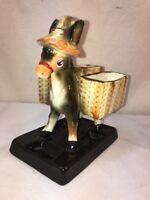 Vtg 50's Japan Pottery Jack Donkey Ass Burro Cigarette Pack Holder Planter Vase