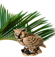 "Great Horned Owl On Log Planter Porcelain Ceramic Brown Vintage 70s Decor 6""X 7"""