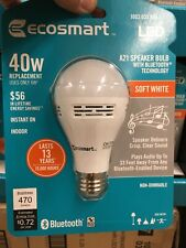 Ecosmart A21 Speaker Bulb Bluetooth Smart LED Soft White 40w *BRAND NEW*