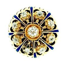 Antique Old Cut Diamond and Enamel Ring in 14k Yellow Gold- HM969