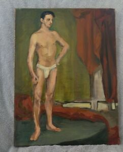 ANTIQUE WPA ERA 1947 AMERICAN IMPRESSIONIST YOUNG NUDE MALE POSING OIL PAINTING