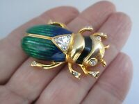 Gold Tone Enamel Rhinestone Scarab Beetle Insect Egyptian Revival Brooch Pin