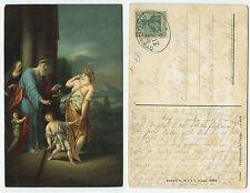 16540 - Adriaen van der Werff: Verstoßung der Hagar - AK, Bahnpoststempel