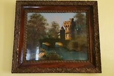 Antique reverse glass painting*English Castle